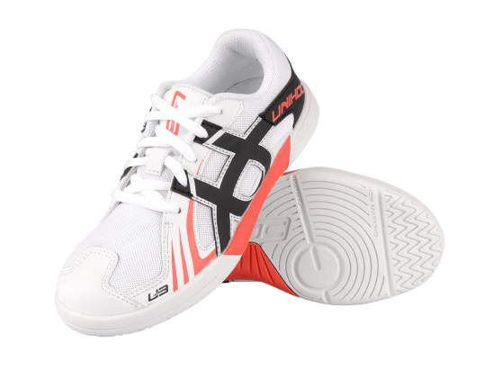 VÝPRODEJ - Shoe U3 Junior Unisex  neon red/white - Unihoc, vel. 36
