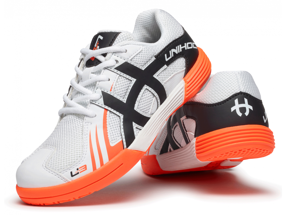 Shoe U3 Junior Unisex white/orange - Unihoc