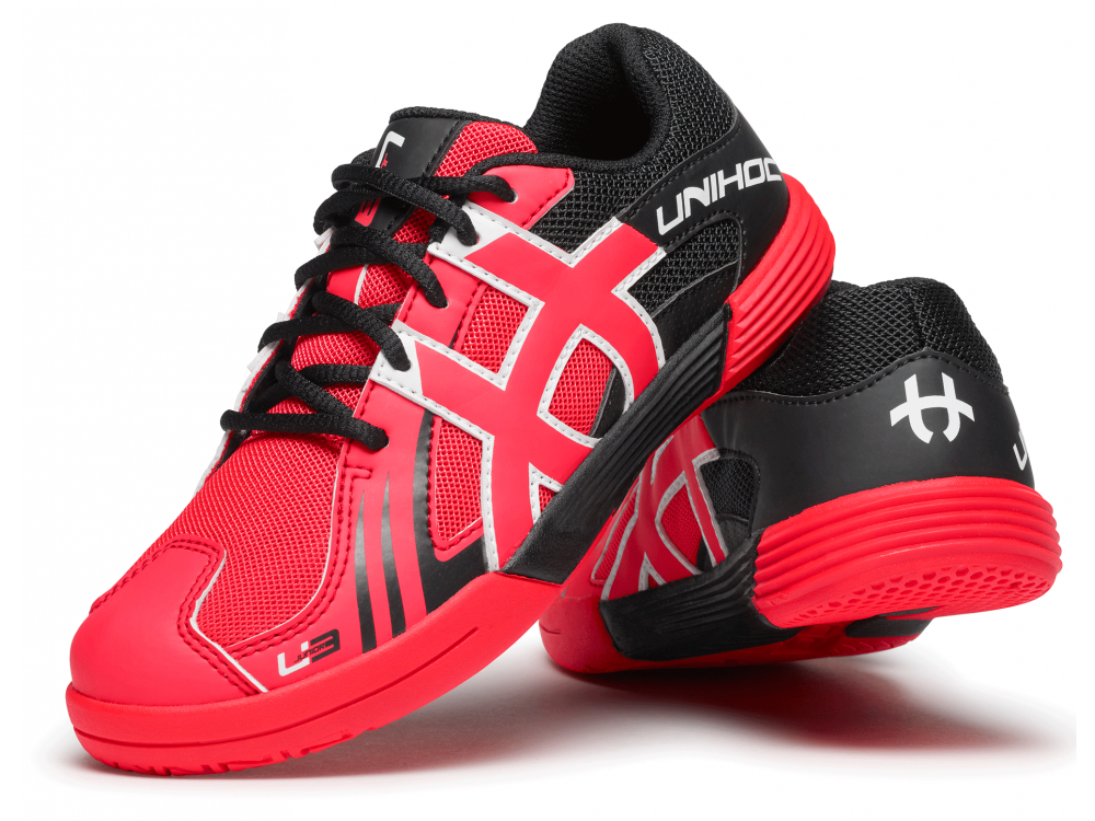 Shoe U3 Junior Unisex neon red/black - Unihoc